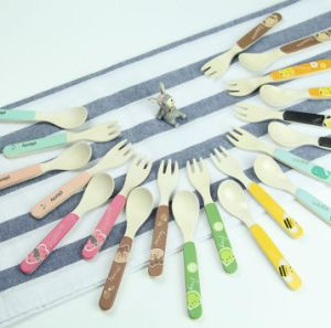 FDA Approved Bamboo Fiber Kids Spoon and Fork Set (YK-A90061) pictures & photos