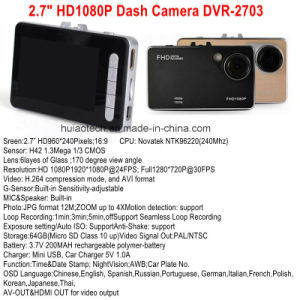 "Hot Sale 2.7"" HD TFT LCD Display Car Mobile DVR in-Dash Camera with Full HD1080p Car DVR, 120degree View Angle, 4G Lens, Digital Video Recorder DVR-2703 pictures & photos"