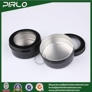 150g 5oz Black Color Window Cap Aluminum Tin Flat Shape Skin Care Cream Container Empty Aluminum Cream Jar with Lid pictures & photos