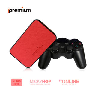 Ipremium Tvonline+TV Box with Leather Cover Smart TV Receiver with Mickyhop OS and Stalker Middleware 2.4G WiFi IPTV pictures & photos