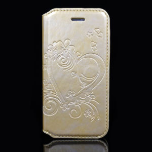 Embossed Customized PU Leather Phone Cover with Card Holder