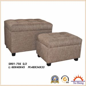 Wooden Storage Linen Ottoman with Button Tufted Set for Bedroom Furniture pictures & photos
