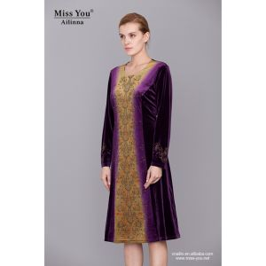 Miss You Ailinna 801975 Ladies Velvet Printed Dress with Long Sleeve pictures & photos