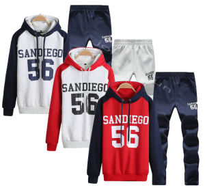 Mens Raglan Sleeve Hooded Fleece Tracksuit (A798) pictures & photos