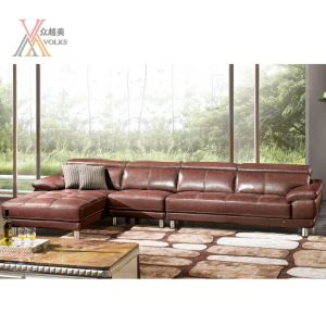 Red Leather Sofa Combination with Stainless Steel Leg (1622A)