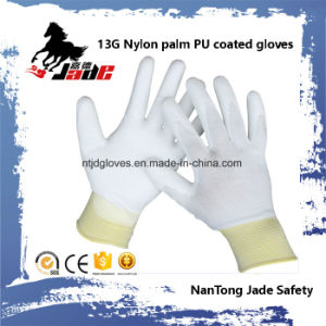 13G blue Lind Palm White PU Coated Glove pictures & photos