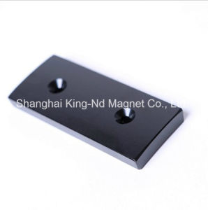 Shk-007 Countersink Customized Neodymium Block Magnet with Black Epoxy Coating pictures & photos