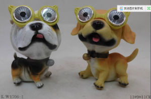Cute Iron Dog Garden Decoration with Solar Light pictures & photos