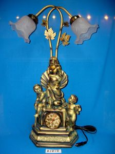Antique Lamp and Clock with Resin Base for Home/Hotel Decoration pictures & photos