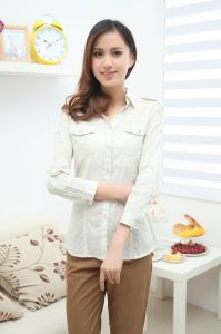 Ladies White Blouse with Chest Pocket pictures & photos