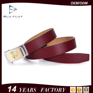 Fashion Customized Logo Brand Steel Buckle Genuine Black Leather Belts pictures & photos