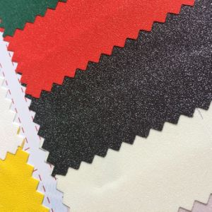 Hot Melt Glue Glitter PU Leather for Labels Package Printing Hx-0734 pictures & photos