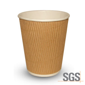 SGS Certified Ripple Wall Paper Cup with Cover Lid pictures & photos