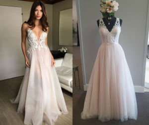 V Neck Sheath Beach Wedding Gown pictures & photos