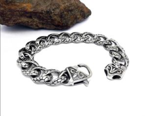 Stainless Steel Jewelry Men Link Bracelets Silver Balck 8.3 Inch pictures & photos