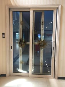 Aluminum Sliding Door with Double Glazed 2 Panels pictures & photos