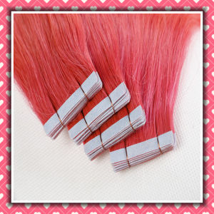 Pink Color Virgin Remy Human Hair Tape Hair Silky 16inch pictures & photos