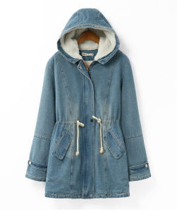 Women Cheap Winter Long Denim Jacket with Hoody Coat pictures & photos