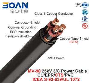 Mv-90, Power Cable, 25 Kv, 3/C, Cu/Epr/Cts/PVC (ICEA S-93-639/NEMA WC71/UL 1072) pictures & photos