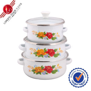 Selectable Decal Durable Kitchenware Enamel Cookware Set pictures & photos