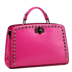 Lady OEM Pink PU Leather Metal Rivet Cheap Designer Handbags (XD140025)