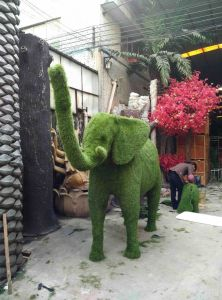 Elephant Plastic Artificial Grass Topiary Plant pictures & photos