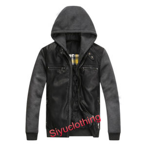 Men Mature Leather Hoody Casual Design Warm Winter Windproof Jacket (J-1619) pictures & photos