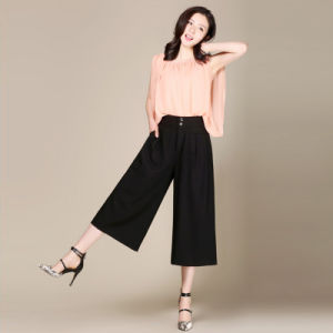 Women′s Summer Loose Straight Hight Waist Wide Leg Pants Cropped Trousers OEM Supplier in Guangzhou pictures & photos