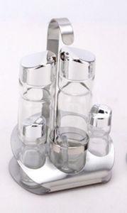 Transparent 5-PCS Soy Sauce Bottle Spice Rack Set (CS-052) pictures & photos