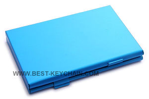 Custom Logo Business Card Case Blue Metal Name Card Holder (BK26234) pictures & photos