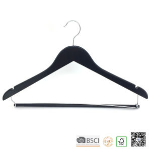 Black Hospital Locked Bar Wooden Clothes Hanger Hangers for Jeans pictures & photos