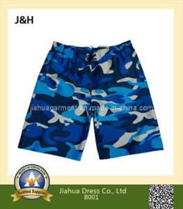 100% Polyester Micro Fiber Peached Navy Wooland Camouflage Beach Shorts