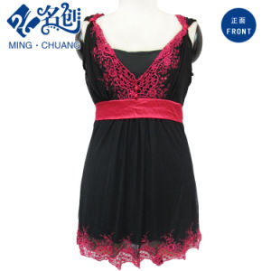 Womens Lace V-Neck Dress with Contrast Waist Band pictures & photos