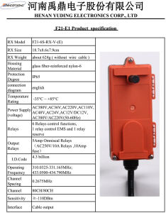F21-E1 Industrial Wireless Radio Remote Control for Bridge Crane pictures & photos