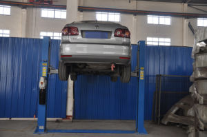 Hydraulic for Low Space Twwo Posts Dual-Cylinder Floor Car Lift pictures & photos