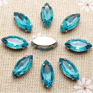 Sew on Rhinestone with Claw Setting Silver Back Oval Boat Acrylic Stone with Metal Claw (SW-Boat 7*15mm) pictures & photos