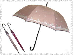 Black Edge Snowflake Printed Straight Umbrella (BD-32) pictures & photos