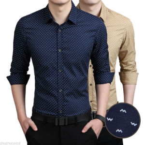 Casual Long-Sleeved Slim Fit Work Wear Silk Shirts pictures & photos