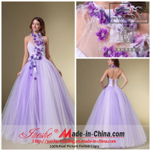 a-Line Halter Floor Length Organza Prom /Evening Dress with Feather and Flower (Q-163)