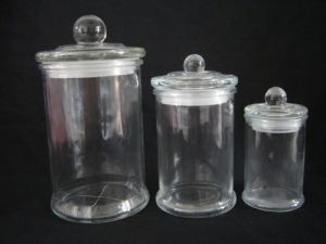 3PC Dome Lid Glass Candle Jars