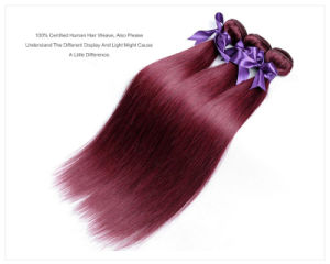 "Brazilian Straight Hair 100% Human Hair #99j Brazilian Hair Extension 12"" pictures & photos"