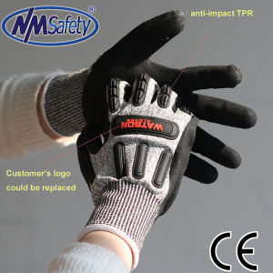 Nmsafety Sandy Nitrile Palm Coated TPR Anti Vibrating Work Glove pictures & photos