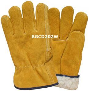 Warm Winter Leather Driver Work Gloves