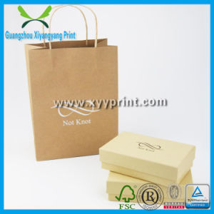 Custom Promotional Flat Handle Kraft Paper Bag with Logo Print pictures & photos