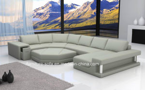 Home Furniture Big Corner Chinese Leather Sofa with Ottoman (SF107)