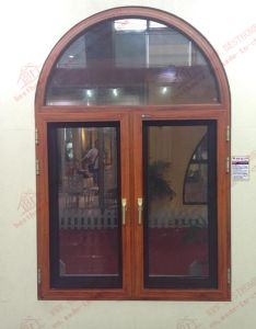 Woodgrain Aluminum Casement Arch Window (BHA-CWA22) pictures & photos