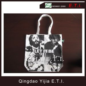 Eco Friendly Priten Cotton Tote Bag with Bottom Gusset pictures & photos