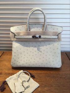 3c Cream Ostrich Skin Leather 25cm Handmade Women Handbags Tote Bags
