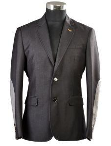 Dark Grey Color with Suede Elbow Patch Men Blazer