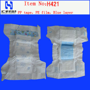 PE Disposable Baby Diaper with Blue Layer (H421) pictures & photos
